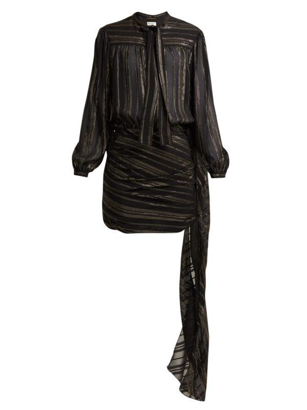 Stripe Tie-neck silk blend mini dress
